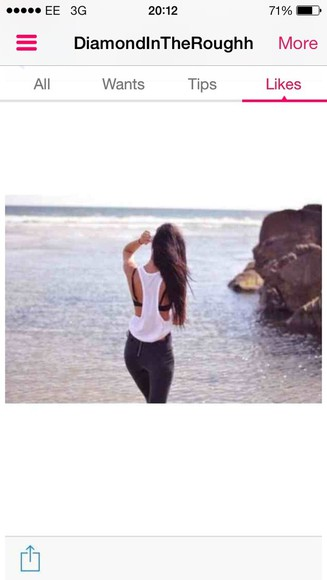 summer white beach t-shirt white top vest tumblr waves long hair don't care long long hair tumblr girl tumblr post