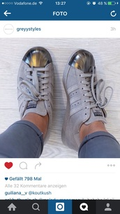 shoes,adidas,grey,adidas shoes,metallic,love,trainers,sneakers,suede sneakers,low top sneakers,adidas superstars,white grey adiddas,silver,superstar,metal top,grey adidas superstars,grey sneakers