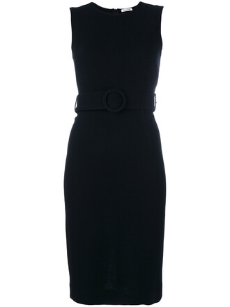 dress belted dress women spandex black wool