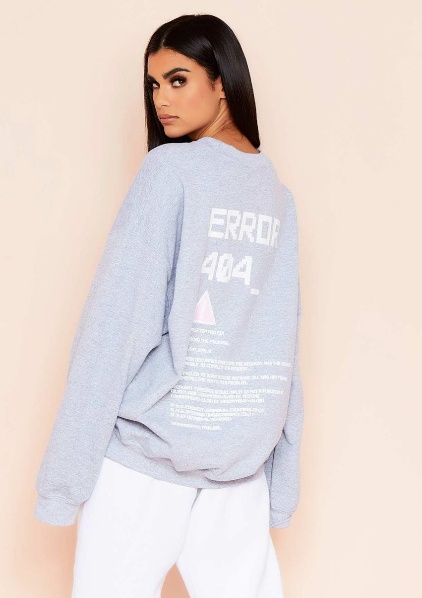 Joanna Grey Error Graphic Oversized Sweatshirt