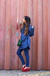 shirt,tumblr,ruffle,ruffle shirt,denim,denim shorts,sandals,sandal heels,high heel sandals,wedges,wedge sandals,jeans,blue jeans,All denim outfit,bag,green bag