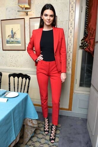 jacket womens suit power suit red suit red blazer blazer pants red pants top black top office outfits kendall jenner celebrity style celebrity model shoes sandals sandal heels high heel sandals black sandals lace up sandals celebrity work outfits kendall and kylie jenner kardashians keeping up with the kardashians celebstyle for less tuxedo lace up heels