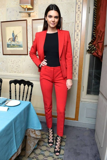 jacket womens suit power suit red suit red blazer blazer pants red pants top black top office outfits kendall jenner celebrity style celebrity model shoes sandals sandal heels high heel sandals black sandals Celebrity work outfits kendall and kylie jenner kardashians keeping up with the kardashians celebrity celebstyle for less tuxedo