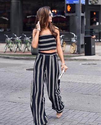 pants striped pants crop tops wide-leg pants stripes striped top matching set