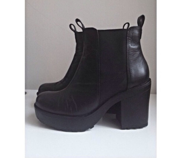 cute vintage black shoes boots tumblr clothes