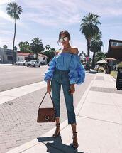 blouse,off the shoulder,off the shoulder top,olivia culpo,jeans,sandals,sandal heels,sunglasses,instagram,spring outfits,shoes