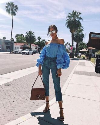 blouse off the shoulder off the shoulder top olivia culpo jeans sandals sandal heels sunglasses instagram spring outfits shoes