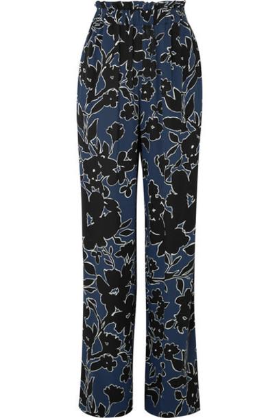 Michael Kors Collection pants wide-leg pants floral print blue silk