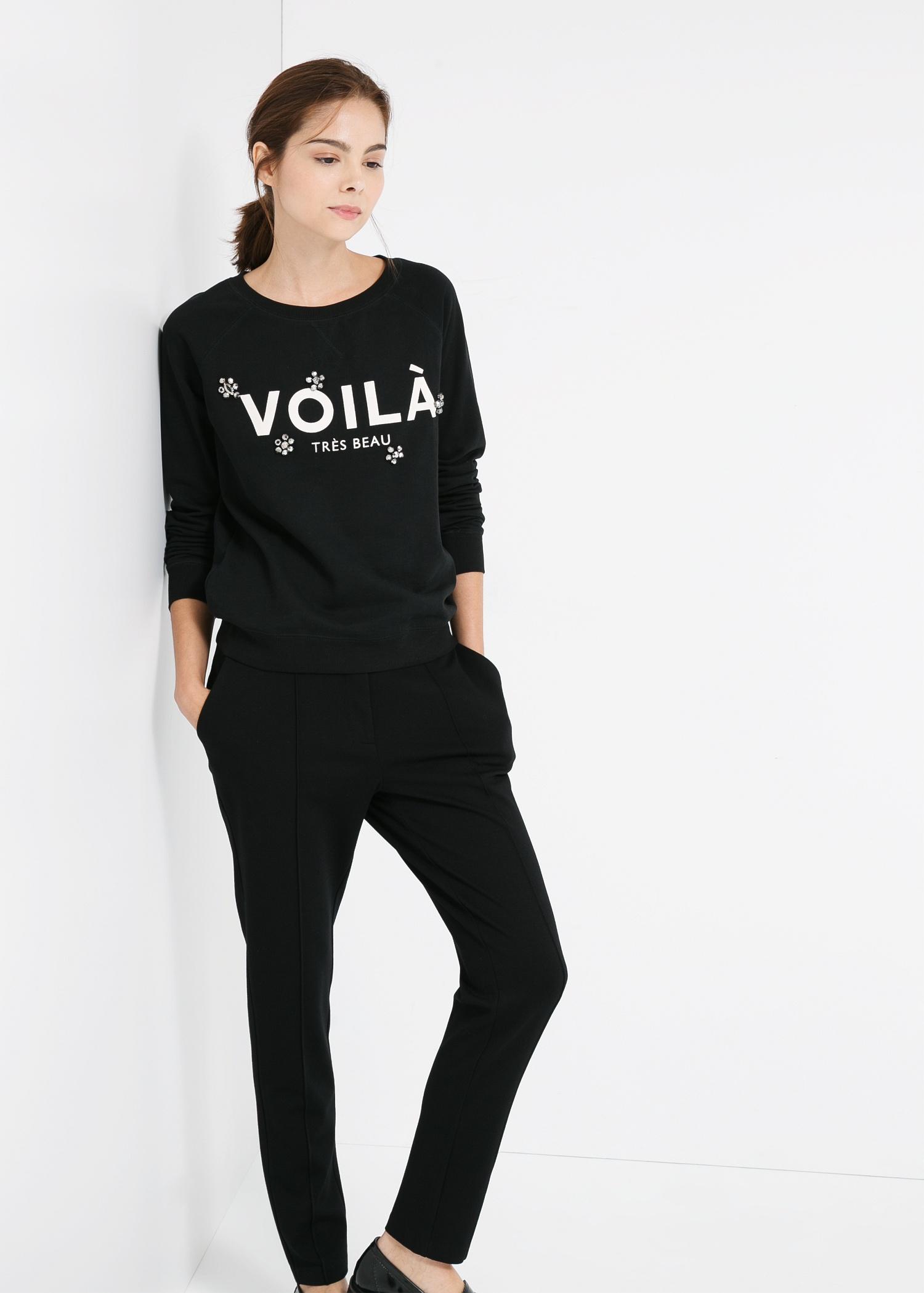 Embellishment text sweatshirt - Women | MANGO
