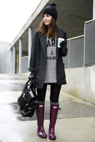 lovely pepa shoes coat t-shirt bag hat paris wellies black shiny jacket grey gray outwear hunter boots outfit boots coldweather gumboots winter outfits winter coat black coat paris top purple purple gumboots rolled cuffs