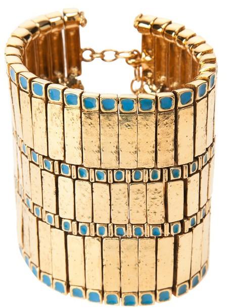 cuff women gold blue jewels