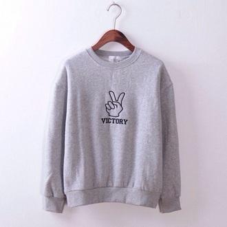 sweater victory grey sweater simple grey sweater sweatshirt
