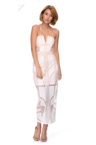dress formal white lace ivory nude plunge layered strapless