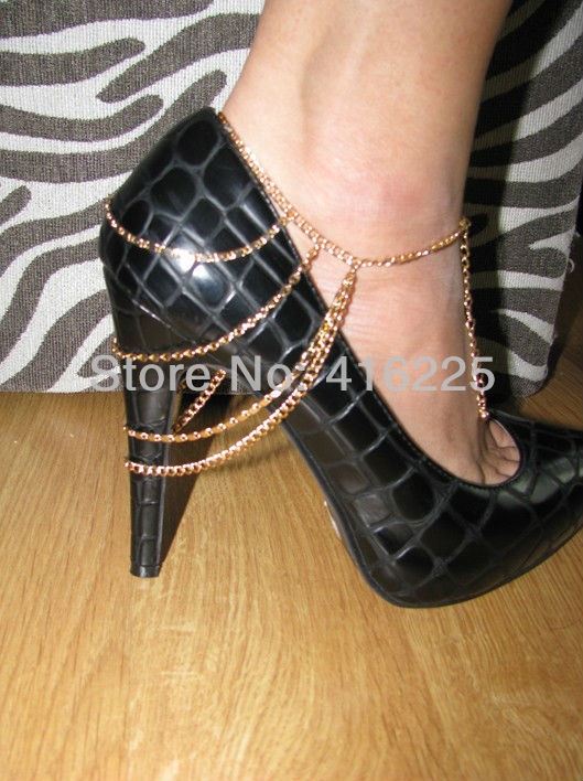 Four Layers  Ankle Chain Boots Chain Heels Jewelry Silver/Gold Ankle Chain-in Anklets from Jewelry on Aliexpress.com