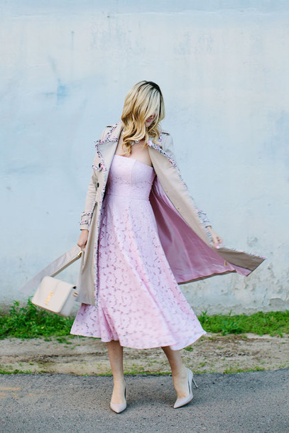 a little dash of darling blogger beige coat bustier dress pink dress homecoming dress trench coat dress coat shoes bag jewels