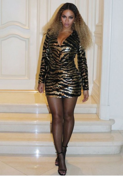 Dress: animal print- zebra print- beyonce- sequins- sequin dress ...