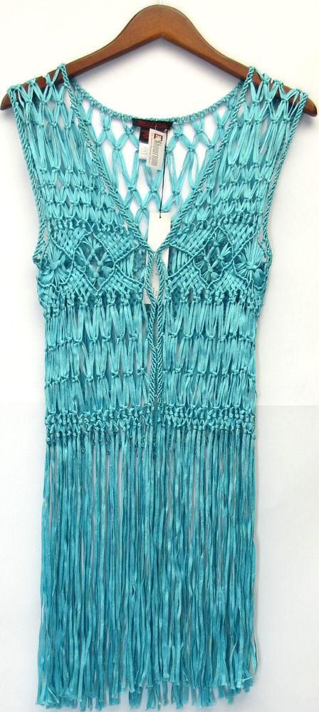 Simon Chang Sz s Crochet Vest w Fringe Detail Turquoise Blue New | eBay