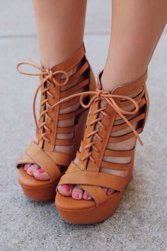 shoes sandals high heel sandals wedges brown strappy style