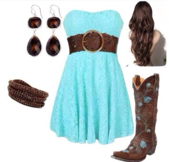 dress blue dress cute shoes red dress adorable belt brown belt earrings cowboy boots boots cowboy cowboy dress colorful leggings jewels