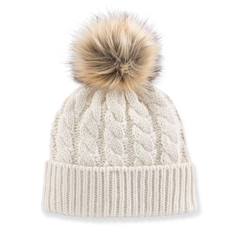 Madden Girl Faux-Fur Pom-Pom Cable-Knit Beanie Hat 205cab39912