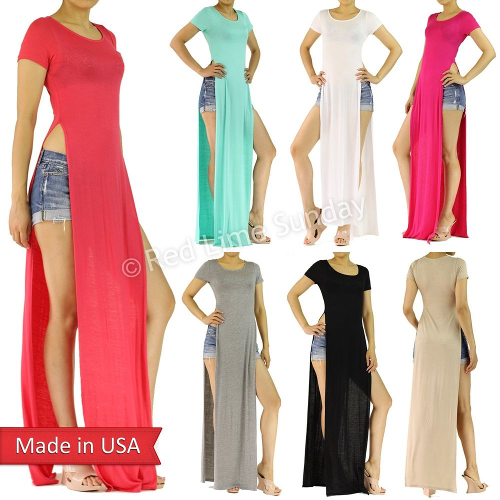 Trendy celebrity double side slits split long t shirt maxi dress regular plus us