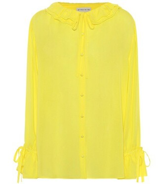 blouse silk yellow top