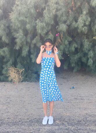 dress coachella coachella outfit midi dress selena gomez sneakers floral dress