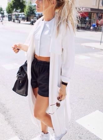 jacket white white jacket white coat coat blazer shorts shirt