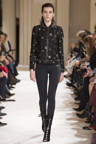 jacket leggings runway all black everything paris fashion week 2017 fashion week 2017 giambattista paris valli