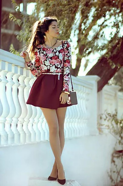 shirt floral top red flowers cute girly fashion