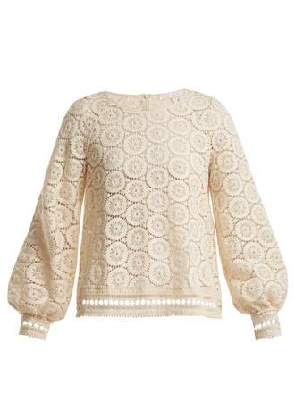 blouse geometric lace cotton white top