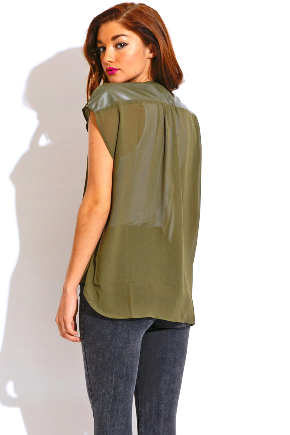 Olive green deep v neck chiffon faux leather trim wrap blouse party top