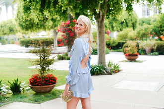 style archives | the style scribe blogger romper bag shoes jewels blue romper clutch summer outfits