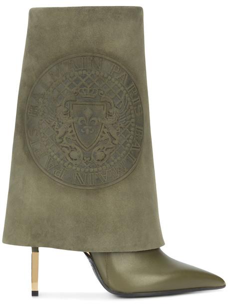 Balmain women leather green shoes