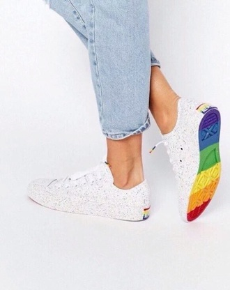 shoes rainbow lgbt converse all star allstars allstar flag white sneakers multicolor