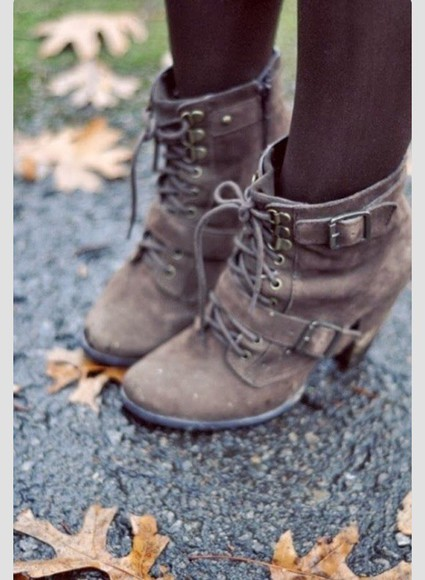 buckles boots lace up high heels wedges dark rustic old ankle high buckle