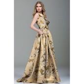 dress,jovani 88174,ballgown wedding dress,gilded bouquet ring,party dress,print
