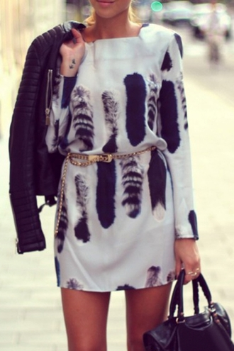 dress fall outfits white black fashion style cute long sleeves long sleeve dress