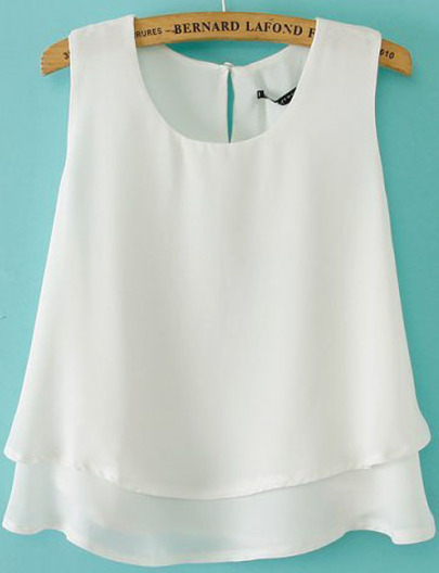 White Sleeveless Double Layer Chiffon Vest - Sheinside.com