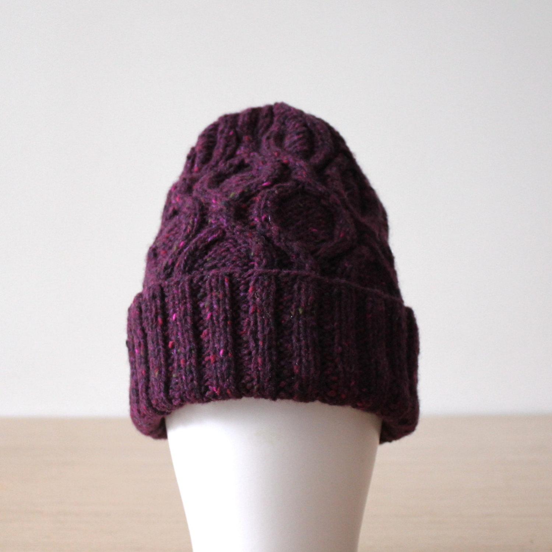 6117a1e2 Women's beanie, Donegal hat, Cable knit hat, Merino wool beanie, Purple  hat, Cuffed beanie, Women's winter hat