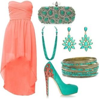 dress prom teal coral dress graduation dress high-low dresses shoes jewels clothes