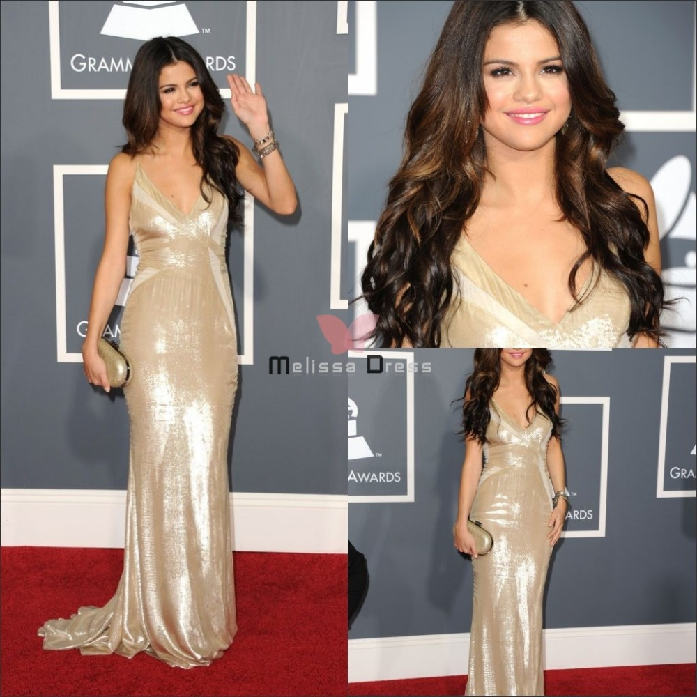 Selena Gomez sexy new arrival floor length v neck sleeveless ruched knee length 41st naacp awards red carpet Celebrity Dresses-in Celebrity-Inspired Dresses from Apparel & Accessories on Aliexpress.com