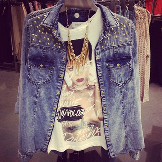 t-shirt rihanna studs jacket jeans denim jacket necklace jewels unapologetic spiked studded shirt