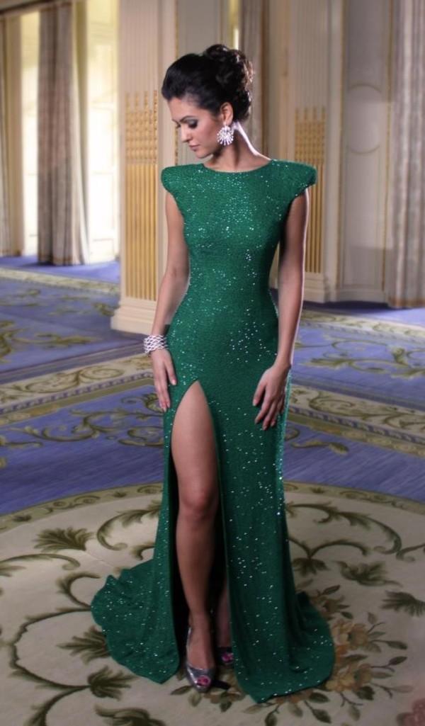 dress green dress sparkling dress slit prom dress