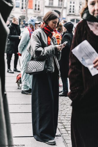 jacket tumblr fashion week 2017 streetstyle bomber jacket green bomber jacket khaki bomber jacket army green jacket scarf tartan scarf tartan bag black bag chanel chanel bag pants black pants wide-leg pants