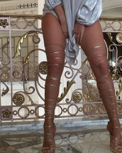 shoes,gold,heels,sexy,luxury,girly,girl,fashion,party,strappy heels,strappy,gold shoes,body goals,ootd,simple fahsion,knee high boots,boots,gold heels,edgy,chic,fancy,formal,party shoes