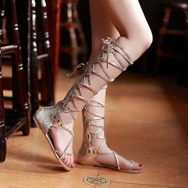 Ladies gladiator roman sandals lace ups knee high slingback zip sandals
