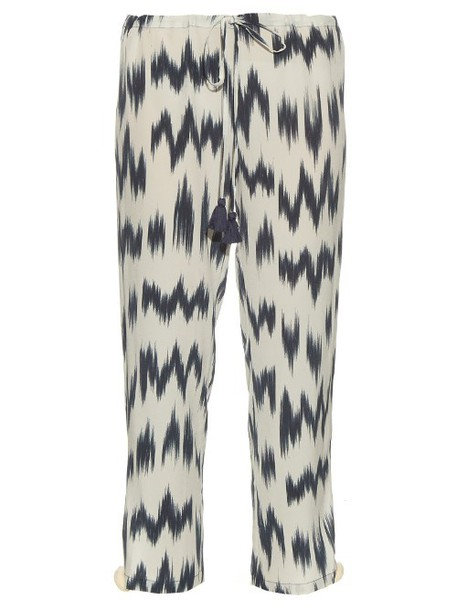 Figue silk navy white pants