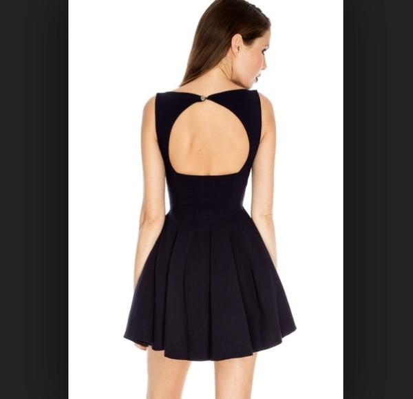 dress black skater dress open back open back dresses cute dress