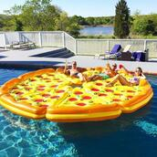 jewels,pizza,home accessory,pool accessory,pool party,swimwear,floating,inflatable,pool,friends,summer,sunglasses,party,instagram,pizza pool float,food pool float,food float,summer holidays,summer accessories,swimming,pool float,summer pool,food